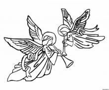 Раскраска Рождественские Ангелы