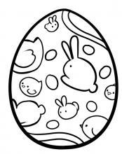 Раскраска пасхальное яйцо зайками