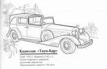 Раскраски Старинные автомобили Каддилак Таун-Кар