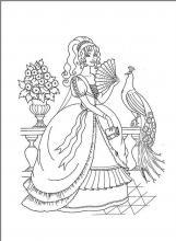 Раскраска королева с веером