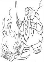 Раскраска Братец медвежонок у огня