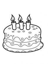 Раскраска торт с 3 свечами