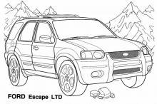 Раскраски Джипы FORD Escape LTD