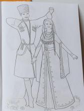 Раскраска народный костюм Чеченский