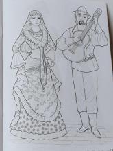 Раскраска народный костюм Цыганский