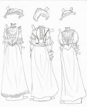 Раскраска одежда вечерные платье