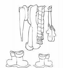 Раскраска одежда на вешалке