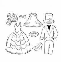 Раскраска одежда невесты и жиниха