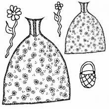 Раскраска одежда бальное платье