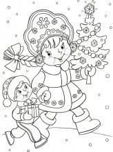 Раскраска снегурочка с елкой