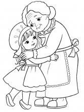 Раскраска бабушка с внучкой