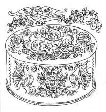 Раскраски - Городецкая роспись коробочка