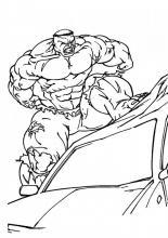 Раскраски Халк на машине