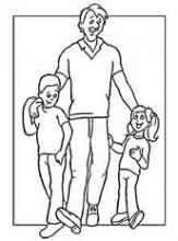 Раскраска папа и дети