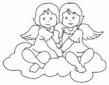 Раскраска 2 ангела