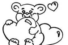 Раскраска медвижонок в сердцах