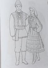 Раскраска народный костюм Молдаванский