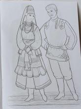 Раскраска народный костюм Мордовский