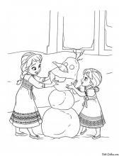 Раскраска Анна и Эльза лепят снеговика
