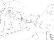 Раскраска сельский пейзаж