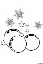 Раскраска Новогодние шары и снежинки