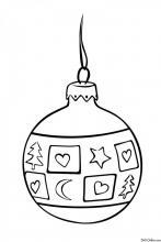 Раскраска Новогодний шар с сердечками