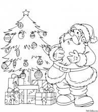 Раскраска Дед Мороз смотрит как дети украсили ёлку