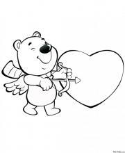 Раскраска Валентинка с мишкой