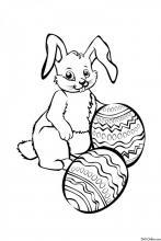 Раскраска Мультяшный пасхальный кролик
