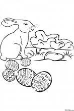 Раскраска Кролик и пасхальные яйца
