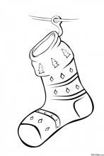 Раскраска Рождественский носок