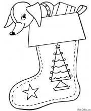 Раскраска Собачка в рождественском носке