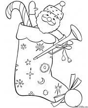 Раскраска Игрушечный Дед Мороз в рождественском носке