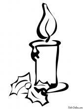 Раскраска Рождественская свеча