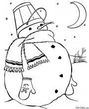 Раскраска Снеговик в теплом шарфике в лунном свете