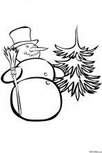 Раскраска Снеговичок с ёлкой