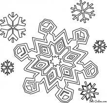 Раскраска Шесть снежинок падают с неба