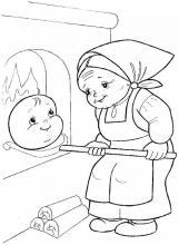 Раскраска колобок в печи