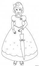 Раскраска Принцесса с зонтиком