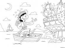 Раскраска Принцесса и пират