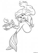 Раскраска Русалочка и краб Себастьян
