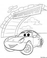 Раскраска МакКуин на Гран При