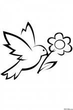 Раскраска Птичка с ромашкой