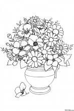Раскраска Ваза с букетом цветов