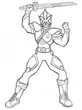 Раскраска Могучие рейнджеры  с мечем