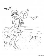 Раскраска Пляжный воллейбол