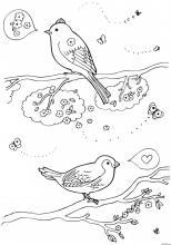 Раскраска Весенние птицы
