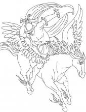 Раскраска конь с  крыльями