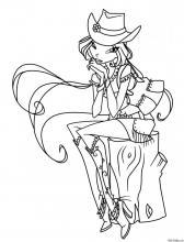 Раскраска Флора в модной шляпе